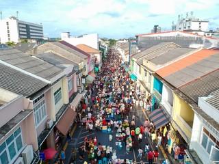 aerial view of walking st old phuket town