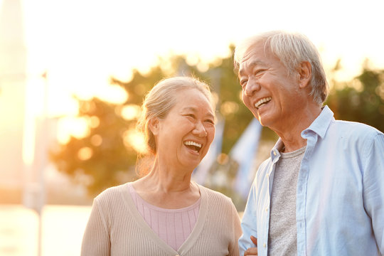 outdoor portrait of happy senior asian couple