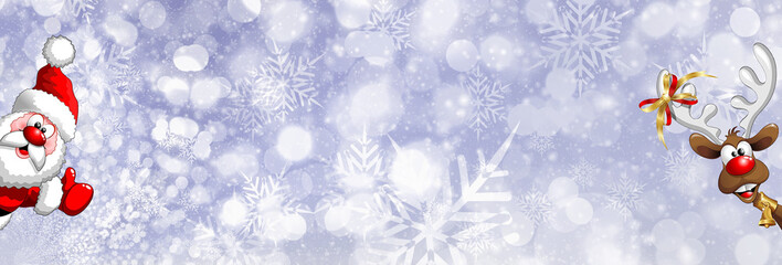 Blue abstract Christmas snowflakes and animated Santa Claus and Rudolph the reindeer bokeh effect banner background/backdrop. Option to insert your own content.