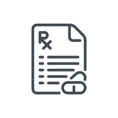Prescription document with pills line icon. Medical recipe vector outline sign.