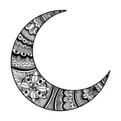 Ornament moon. Mandala moon
