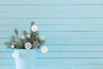 Christmas decor on blue wooden background