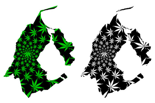 Zulia State (Bolivarian Republic of Venezuela, States, Federal Dependencies and Capital District) map is designed cannabis leaf green and black, Zulia map made of marijuana (marihuana,THC) foliage....