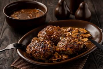 Homemade Salisbury Steak with Mushroom Onion Gravy.