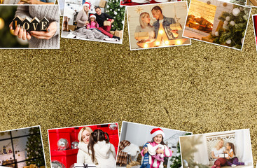 collage of Christmas pictures. Seasons. Selective focus Holidays