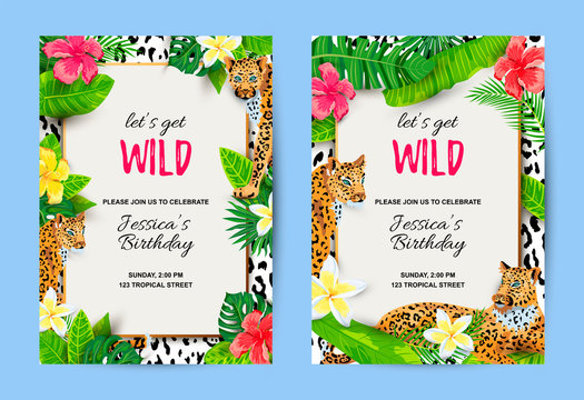 Leopards with tropical leaves, flowers, wild party invitations set. Place for text. Vector illustration for flyer, birthday, tropical party, banner, poster.