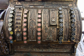 Antique Cash Register. Close up of a vintage cash register circa early 1900s.