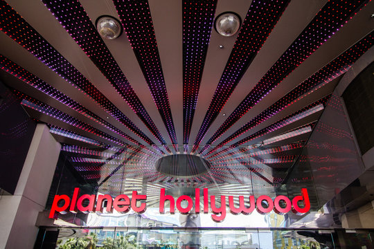 Las Vegas, Nevada, USA - May 6, 2019: Exterior entrance of the Planet Hollywood Casino and Resort on the strip in Las Vegas.