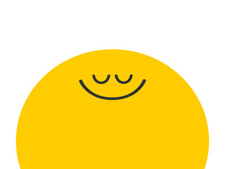 The sun with a smile. Flat cartoon style. Cute sun. Illustration with place for text.