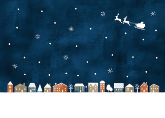 雪の街水彩夜