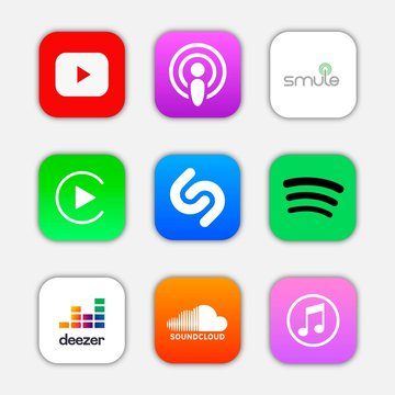 Set of popular icon for music application, social media logos of Smule, Car play, podcast, youtube, spotify, shazam, itunes, deezer, SoundCloud. Square icons and logotype