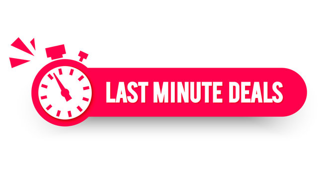 Vector Illustration Last Minute Deals Label With Stop Watch. Modern Web Banner Element