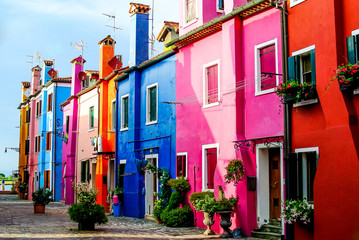 Beautiful colored houses on the island of Burano.