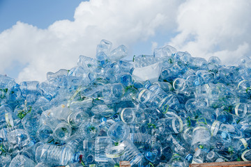 Fototapeta Industrial Village / T Jetty Area - Male', Maldives - July 30, 2017 - Dumped Plastic Bottles