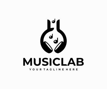 Music lab logo design. Chemistry flask and headphone vector design. DJ studio logotype