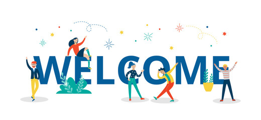Welcome colorful letters with people characters flat vector illustration isolated.