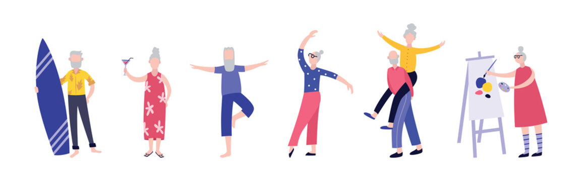 Active cartoon old people having fun - isolated flat set