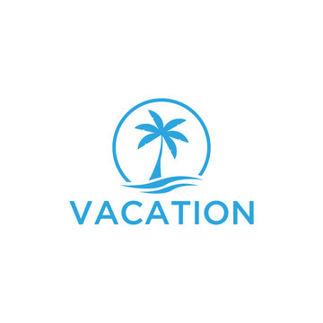 Vacation logo design template. Green palm inn seaside. The concept for travel agency, tropical resort, beach hotel, spa. Summer vacation symbol.