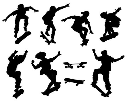 Skateboarders perform tricks black silhouette vector illustrations set isolated.