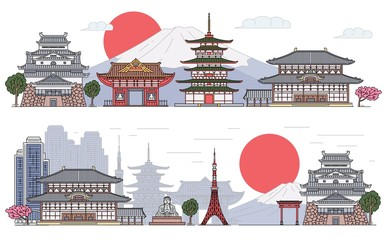 Set of Japanese landscape banners cartoon sketch vector illustration isolated.