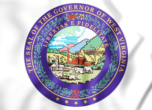 3D Governor of West Virginia seal, USA. 3D Illustration.