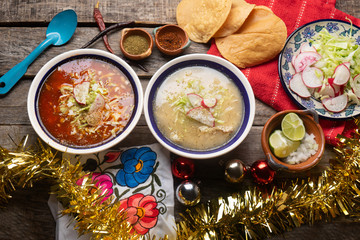 Mexican white  and red pozole with christmas decoration on wooden background