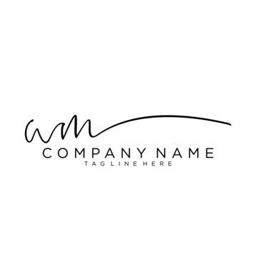 Initial letter WM Signature handwriting Logo Vector