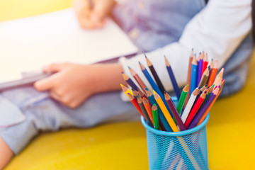 Colors pencils with Kids Drawing Arts, Creative Education and learning in School concept.