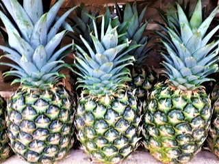 close-up of fresh ripe sweet aromatic organic pineapple