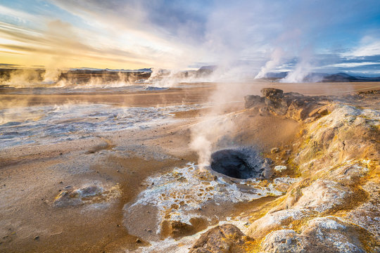 steaming mud holes and solfataras in the geothermal area of Hverir near lake Myvatn, northern Iceland