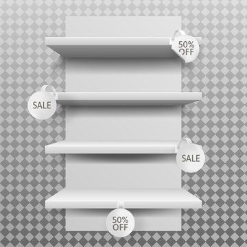 Empty white shop shelves with round custom promotional advertising wobblers mockup in realistic style isolated on transparent background