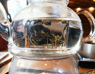 hydrangea root tea in teapot in cafe in Seoul