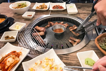 korean BBQ at table in local restaurant in Seoul