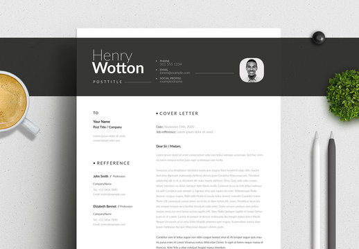 Resume and Cover Letter Layout Set with Dark Gray Header Element