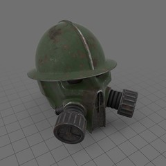 Military helmet with gas mask