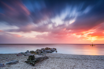 Baltic sea beach during sunrise in Gdynia. Baltic Sea. Poland