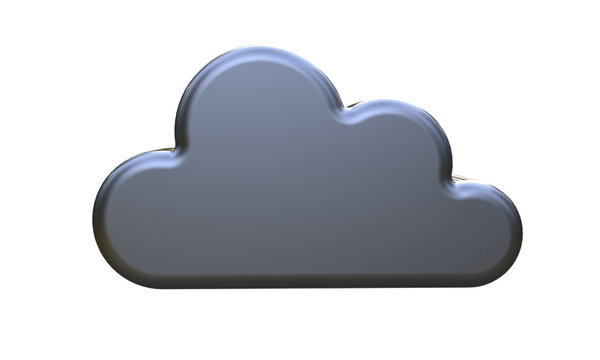 3d illustration of black cloud isolated on white