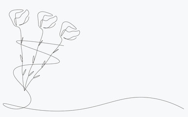 Roses background, continuous line draw. Vector illustration