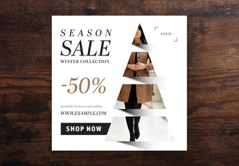 Season Sale Card Layout with Christmas Tree Photo Placeholder