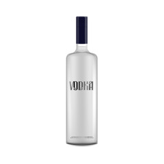 Isolated vodka bottle mockup with text label - alcohol drink packaging template