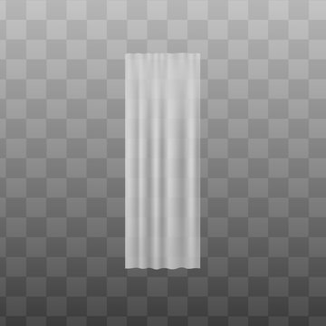 White silky fabric curtain cloth realistic vector illustration mockup isolated.