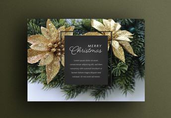 Christmas Card Layout with Green Garland and Gold Flowers