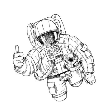 Astronaut in space suit with one hand, OK gesture