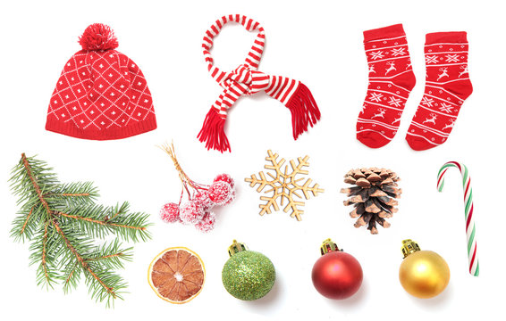 Set of christmas holiday objects isolated.Collage of new year decorations.