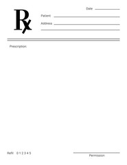 Blank Rx form for medical treatment prescription and drugs list.