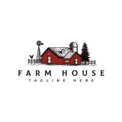 Vintage farm house logo design template - vector