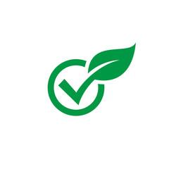 Check leaf icon logo vector, check wood logo vector, green check audit icon
