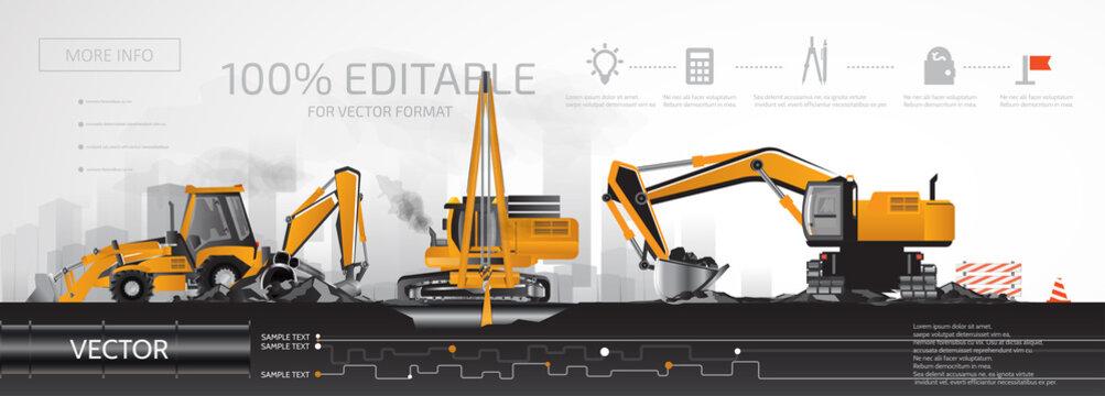 Heavy equipment, excavator and backhoe tractor.
