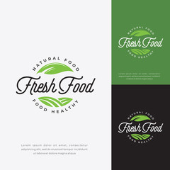 Fresh food logo. natural food logo, fresh restaurant icon badge logo template