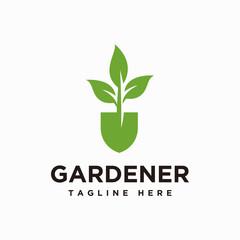 Gardener logo design inspiration vector, Lawn care, farmer, lawn service logotype, icon vector